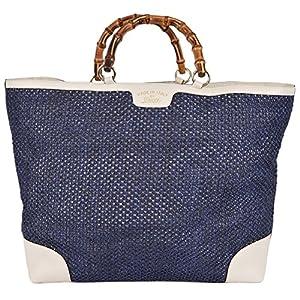 Fashion Shopping Gucci Women's Large Blue Straw Leather Bamboo Handle Handbag Tote