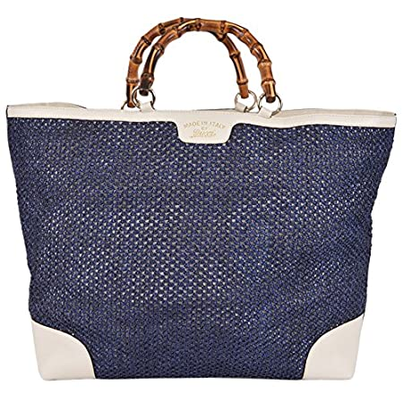 Fashion Shopping Gucci Women's Large Blue Straw Leather Bamboo Handle Handbag Tote