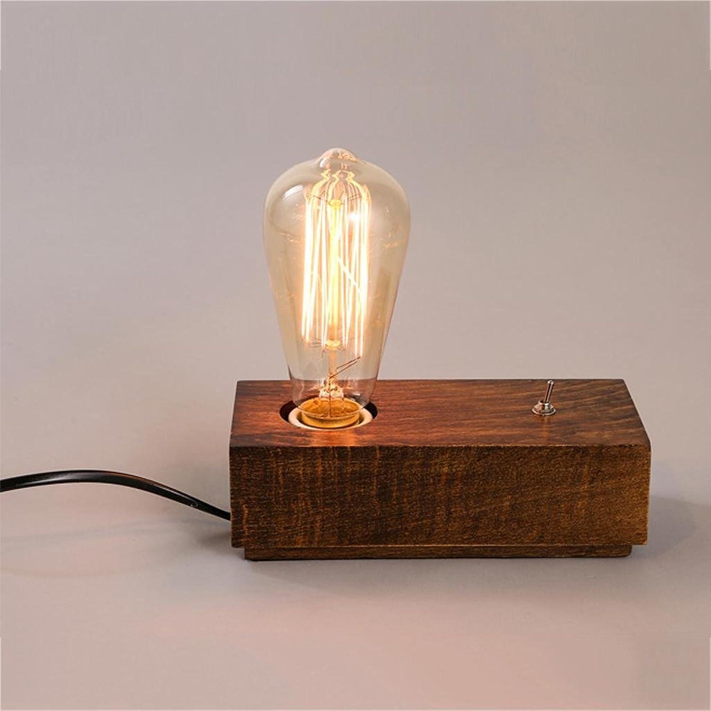 Tischlampe Schlafzimmer Nachttischlampe Retro Quadrat hölzerne kreative Massivholz Lampe B06XJPX7TD | Modern