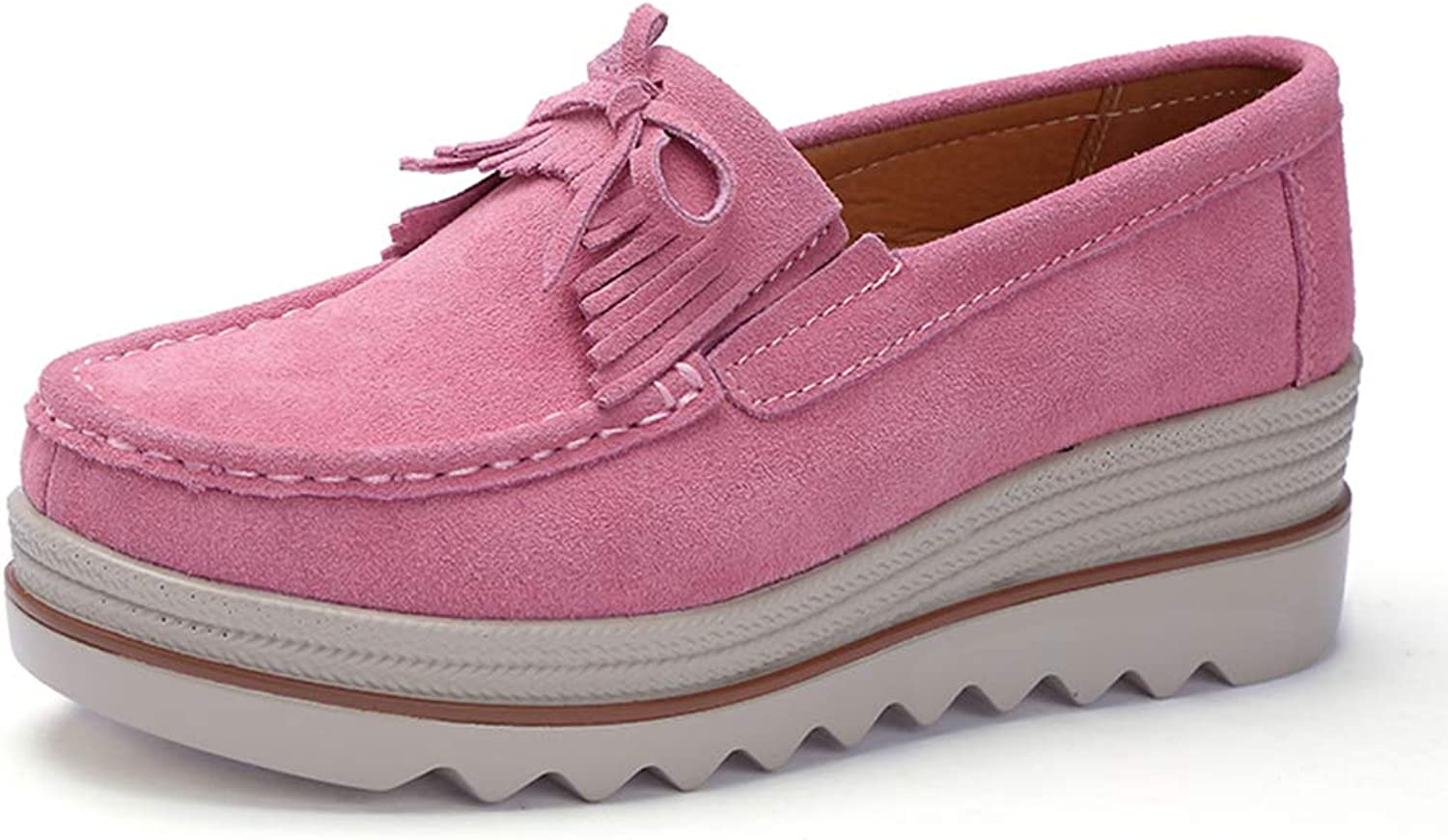 Ruiatoo Women Platform Slip On Loafers Comfort Genuine Suede with Tassel Wedge shoes Low Top Moccasins Pink 36