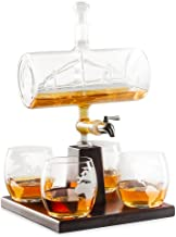 Royal Decanters Sailing Ship Set - Stainless Steel Spigot Liquor Dispenser - 4 Etched World Map Glasses - for Brandy Tequila Bourbon Scotch Rum -Alcohol Related Gifts for Dad (1000ML)