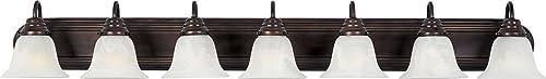 "popular Maxim 8016MROI Essentials Marble Glass Bathroom Lighting Vanity Wall Mount, 7-Light 420 Total Watts, discount 7""H x online 48""W, Oil-Rubbed Bronze online"