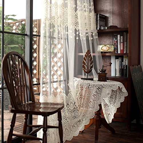WPKIRA 1 Panel Shiny Embroidered Sheer Curtain Panel 84 inch Long Beige Glitter Voile Curtain Sparkling Embroidery Window Treatment Natural Light Flow for Living Room