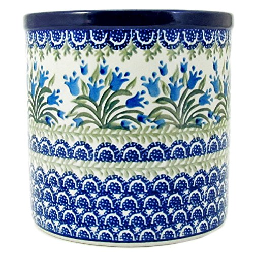 Polish Pottery Hand Crafted 6'' Utensil Crock 003-Blue Tulips