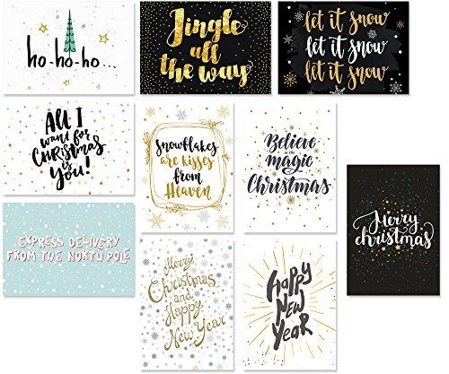 20 Typographie-Postkarten-Set, 10 Motive mit jeweils 2 Karten, moderne Weihnachtskarten, Spruchkarten, Sprüche-Postkarten (Winter/Weihnachten)