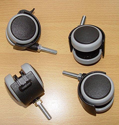 4 Stück Möbelrolle 50mm Hartbodenrolle Gummi Gewinde M8x30 Lenkrollen Feststellbar