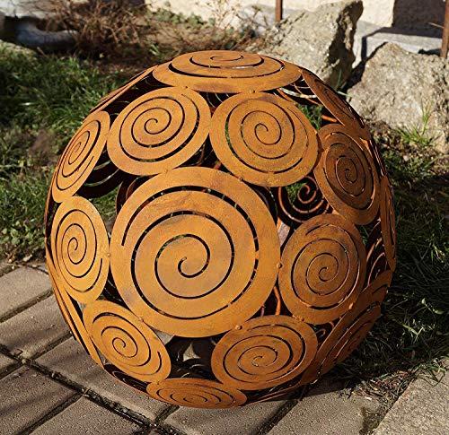 Rostikal | Edelrost Kugel Spirale zum Beleuchten | Gartendekoration, Ø 40 cm