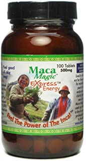 Maca Magic Express Energy Tablets 800mg (100ct) 100% Organic Peruvian Premium Grade Maca - Full Spectrum Blend of Black Ma...