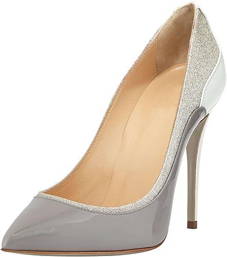 DYF zapatos de mujer de tacón alto fino afilado boca superficial de gran tamaño en Color Bump