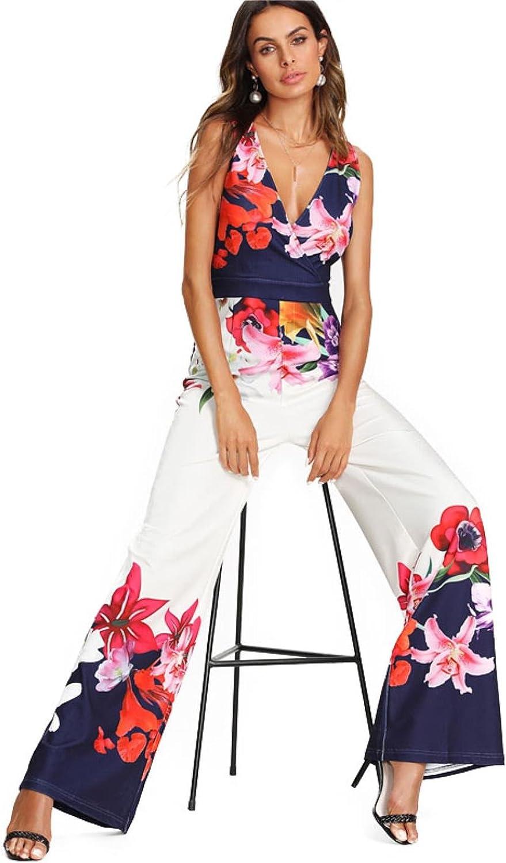HvaKg Women Deep V Neck Sleeveless High Waist Wide Leg Print Zip Jumpsuit
