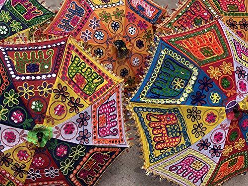 GANESHAM - Paraguas Indio de algodón, protección UV, Paraguas Hippie, Boho, Parasol Indio para Boda, Decorativo, Hecho a Mano, para Exteriores (10 Unidades)
