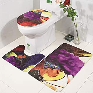 TechCode Absorbent Bathroom Rug, Lightweight 3 Set Decor Non-Slip Bathroom Rug Mat Flannel Variety Pattern Carpet Mats Shower Accessories Bath Mats Toilet Seat Cover for Bathroom Stand Toilet Set -20