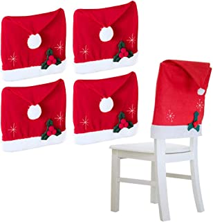 Koogel Xmas Chair Cap,4 Pcs 25x20inch Santa Clause Hat Chair Covers, Red Hat Dinner Chair Slipcovers Protector Sets for Christmas Banquet Holiday Festival Decor