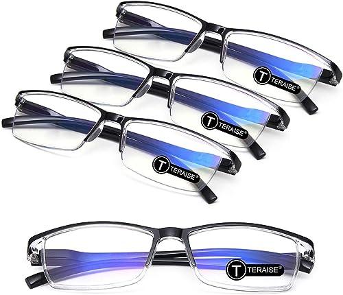 TERAISE 4PCS Mode anti-lumière bleue Lunettes de lecture Lunettes de lecture pour la lecture pour les hommes et les f...