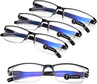 TERAISE 4PCS Fashion Anti-blue light Reading Glasses Men Women Computer Reader(2.0X)