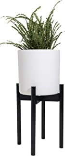 Sona Home Adjustable Mid Century Plant Stand, Available in 3 Sizes, 3 Colors - Modern Plant Stand for Indoor & Outdoor Use, Planter Stand Only (High, Black)