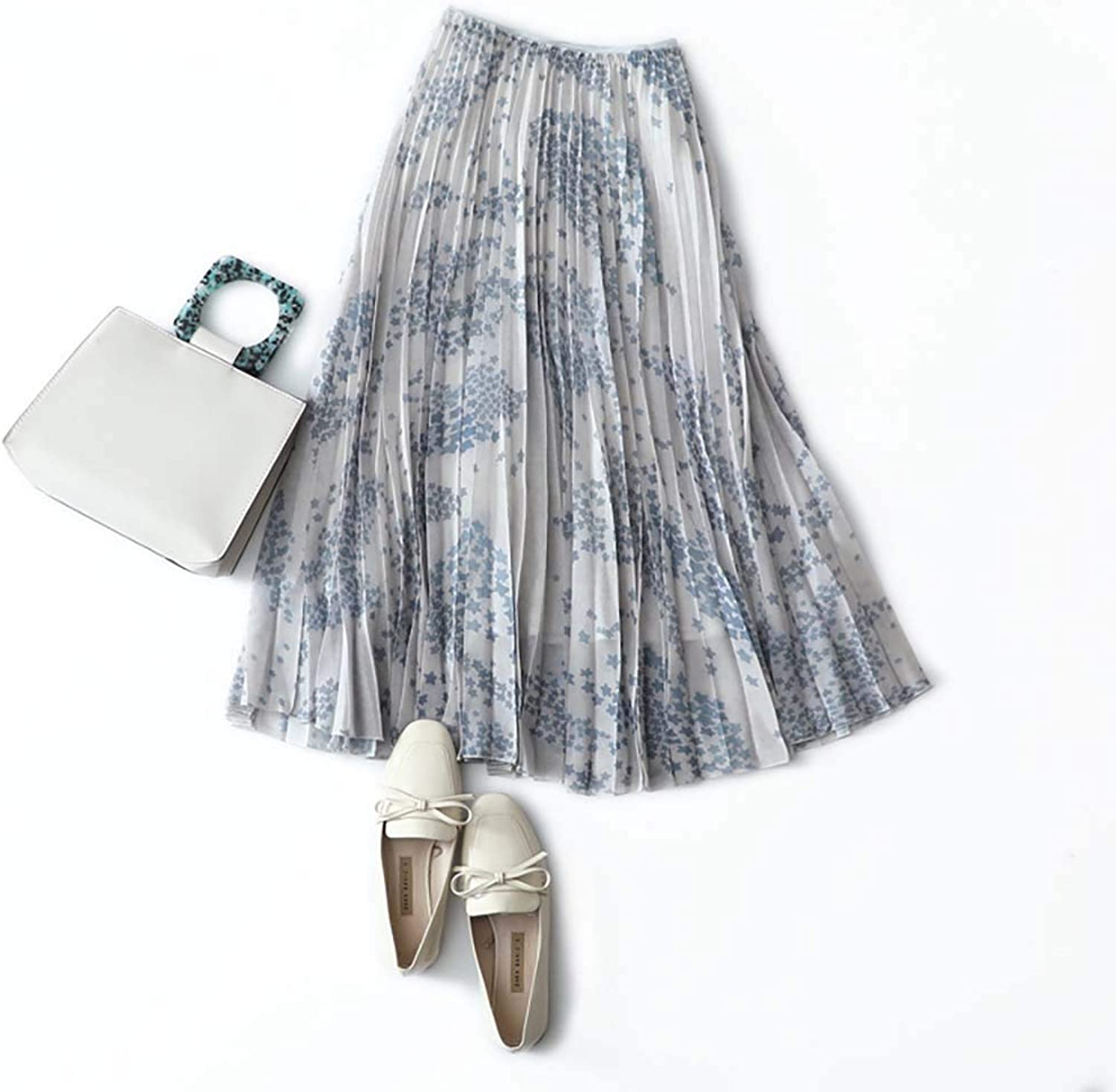 Skirt, Star Print, Long Temperament, High Waist, Pleated ALine Skirt