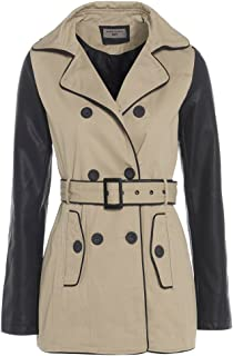 KRISP Femme Trench Coat Veste avec ceinture Mac Assymetric