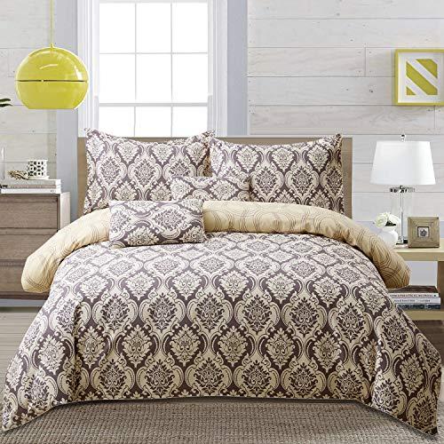 FADFAY Duvet Cover Full Damask Golden Brown 100% Cotton Hypoallergenic with Hidden Zipper Closure Luxury Bedding Set 3-Piece:1duvet Cover & 2pillowcases Full Size
