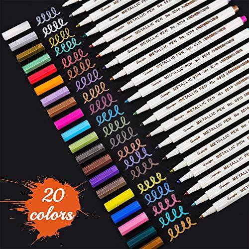SUNSHINETEK Rotuladores metálicos 20 Plumas de pintura con brillo de colores surtidos para dibujo de álbum de fotos/Creación de álbumes de DIY/Creación de tarjetas (Consejo general)