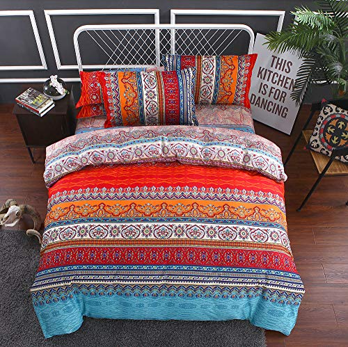 Juego de ropa de cama bohemia de 3 piezas con diseño de mandala, con cremallera, funda nórdica y funda de almohada (primavera, 200 x 200 cm)