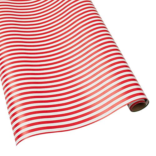 Caspari Club Stripe Reversible 30 in. x 8 ft. Wrapping Paper in Red & Green, 2 Rolls Included