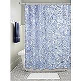 iDesign Paisley Duschvorhang | dekorativer Badewannenvorhang in 183,0 cm x 183,0 cm | tolles Duschvorhang Design mit Paisley-Muster| Polyester blau