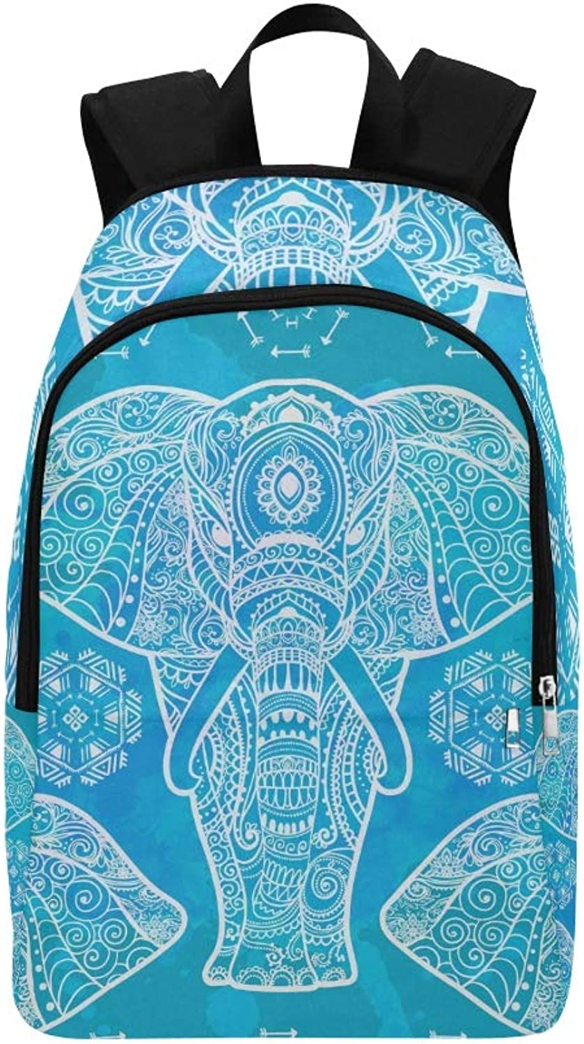 Card Elephant Animal Made Casual Daypack Travel Bag College School Backpack for Mens and Women