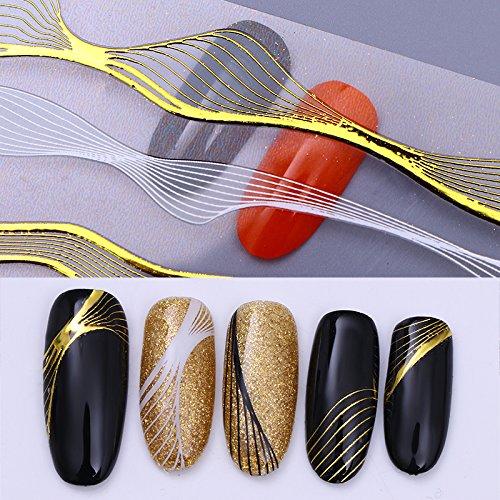 CoulorButtons 2Blätter mit wellenförmigen 3D-Nagelaufkleber in verschiedenen Größen aus goldenem Metall, Nagelkunst, selbstklebend
