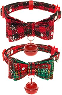 SCENEREAL Cat Collars Breakaway with Bell - 2 Pack Bowtie Outdoor Safety Collar for Cats Kittens