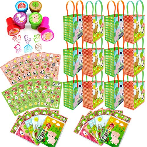 Tiny Mills Barnyard Animals Birthday Party Assortment Favor Set 108 pcs (12 Large Party Favor Treat Bags with Handles  24 Self-Ink Stamps for Kids  12 Sticker Sheets  12 Coloring Books  48 Crayons)