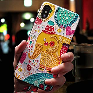 Fodimex - Cute 3D Emboss Cartoon Patterned Phone Case for iPhone X 8 7 6 6S Plus Cases Soft Silicone Cover for iPhone 5 5s SE Coque [ Phone X Elephant ]