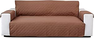 NAVINE Sofa Slipcover Reversible Sofa Cover 66IN Water Resistant Couch Cover Furniture Protector with Elastic Straps for Pets Kids Children Dog Cat (Khaki)