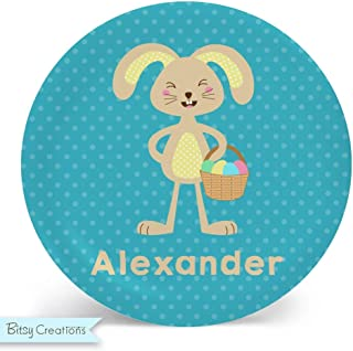 Easter Bunny Boy Melamine Bowl or Plate Custom Personalized with Childs Name