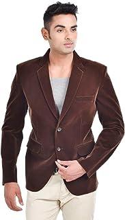 LUXURAZI Men's Brown Standing Neck Festive Designer Blazer