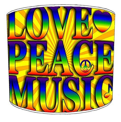 Premier Lighting 25cm Hippie Peace y Love Pantallas de lámparas7 para una lámpara de Mesa