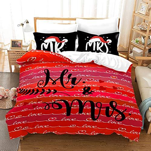 YuanLu Juego de ropa de cama Mr/Mrs, tamaño completo para parejas, funda de edredón de microfibra, simple decoración del hogar, 1 funda de edredón + 2 fundas de almohada, color rojo