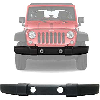 2007-2018 Replaces CH1000900,1FN67RXFAA JK Zhicheng New Front Bumper Cover Facial with Fog Light Holes and Tow Hook Holes Textured for Jeep Wrangler