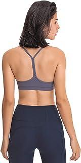Women Yoga Bras, Y Racer Back Shockproof Comfort Workout Yoga Bra for Running,Gray,4