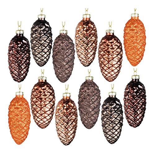Ornamenti fatti a mano Ornamenti cono di pino Set di 12 pendenti a forma di pigna dipinta in vetro che appendono palline di Natale per decorazioni per alberi di Natale e articoli per feste (marrone)