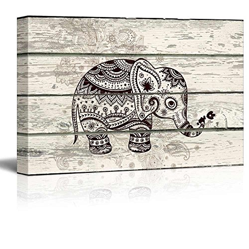 "wall26 - Decorative and Patterned Baby Elephant - Canvas Art Wall Decor -12""x18"""