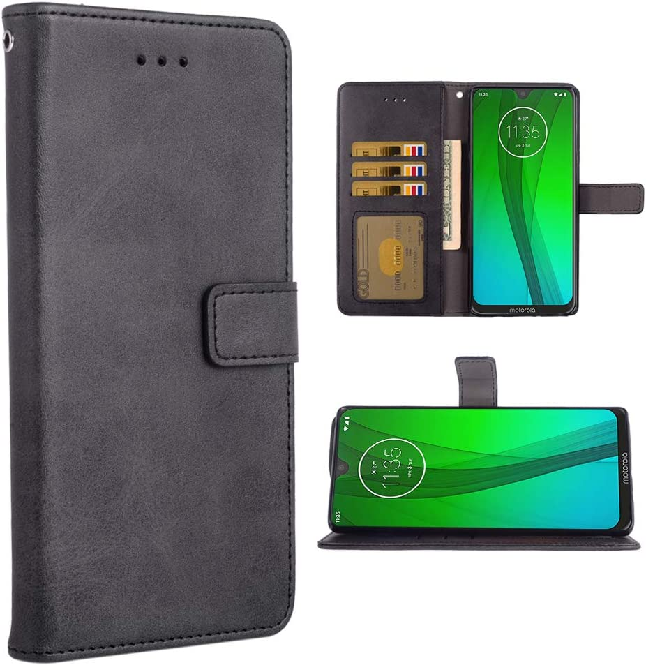 Phone Case for Moto G7/G7+ Plus Folio Flip Wallet Case,PU Leather Credit Card Holder Slots Full Body Protection Kickstand Protective Phone Cover for Motorola G7Plus Moto7 XT1962-1 G 7 7G Black
