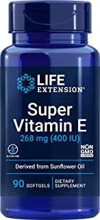 Life Extension Super Vitamin E 268 mg Non-Synthetic for Whole-Body Health, Gluten Free, Non-GMO, 90 Count