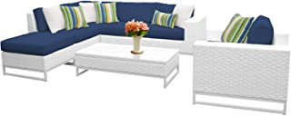 Delacora MIAMI-07F-NAVY Florida 7-Piece Aluminum Framed Outdoor Conversation Set with Coffee Table