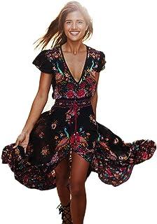 fd8ae41cfc9f9c Vestito da Donna Elegante 💋 feiXIANG Vestito da Sera da Donna con Stampa  Floreale Abito