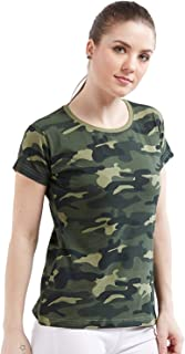Wear Your Opinion Women's Top | Half Sleeve T-Shirt Top for Women | Military Army Camouflage Style Top Tshirt