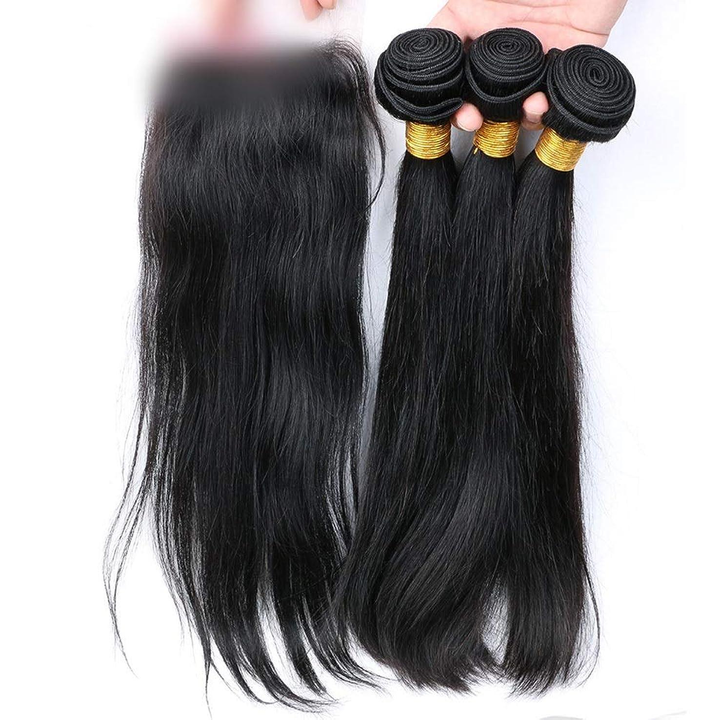 気配りのあるのれん実施するBOBIDYEE ブラジルストレートヘア100%本物の人間の髪の毛の拡張子レース前頭閉鎖自然に見える合成髪レースかつらロールプレイングかつら (色 : 黒, サイズ : 14 inch)