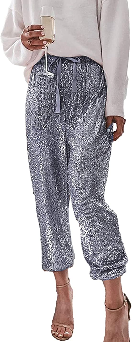 AMEBELLE Women's Sequin Pants Casual High Waist Closed Bottom Glitter Party Club Trousers