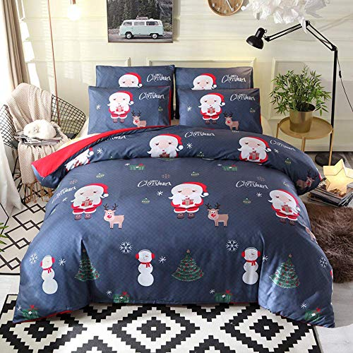 Linsaner Kerstman beddengoedset met kussenslopen, kerstman-motief, kerstcadeau