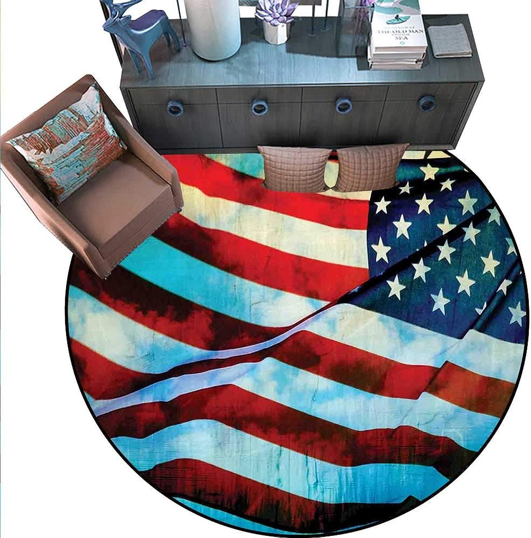 American Flag Round Floor Cover American Flag in The Wind on Flagpole Memorial Patriotism History Image Print Door mat Indoors Bathroom Mats Non Slip (5' Diameter) bluee Red